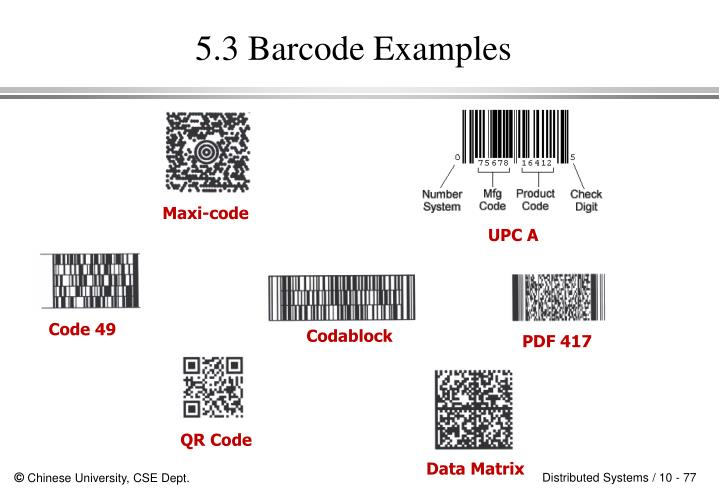 5.3 Barcode Examples