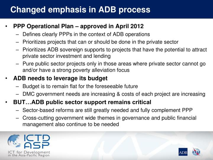 Changed emphasis in ADB process