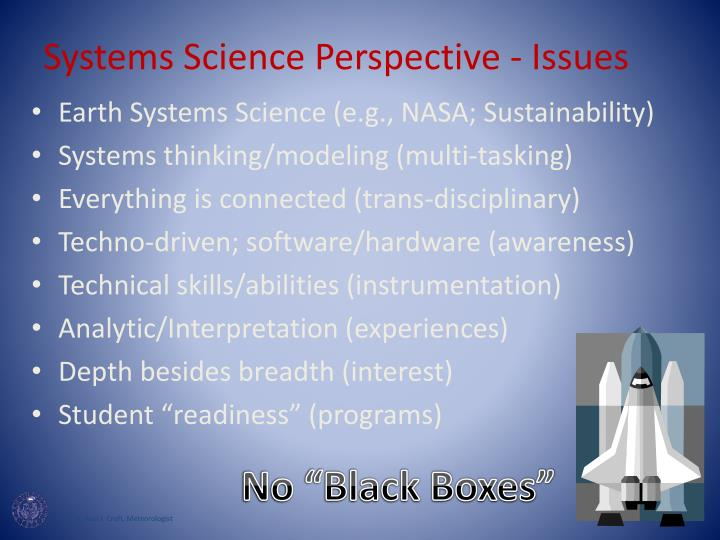 Systems Science Perspective - Issues