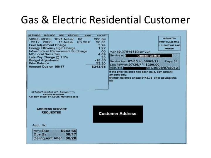 Gas & Electric Residential Customer