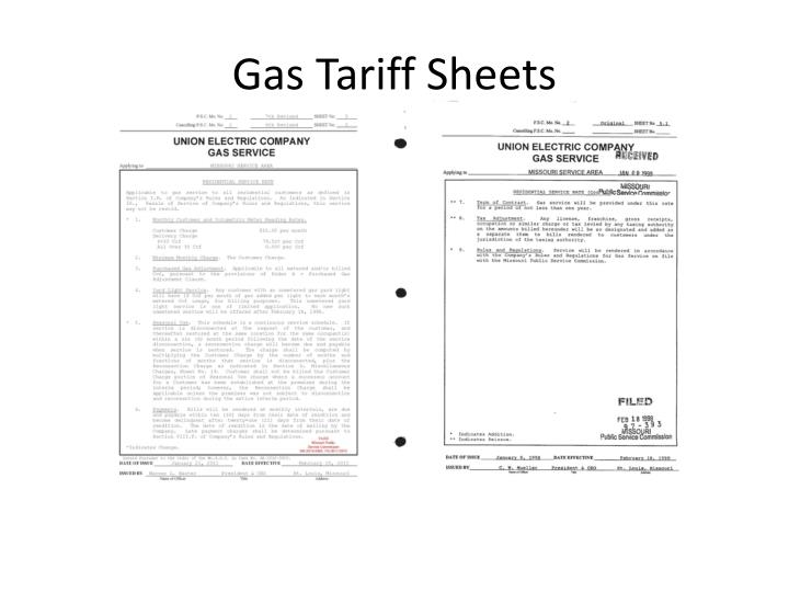 Gas Tariff Sheets