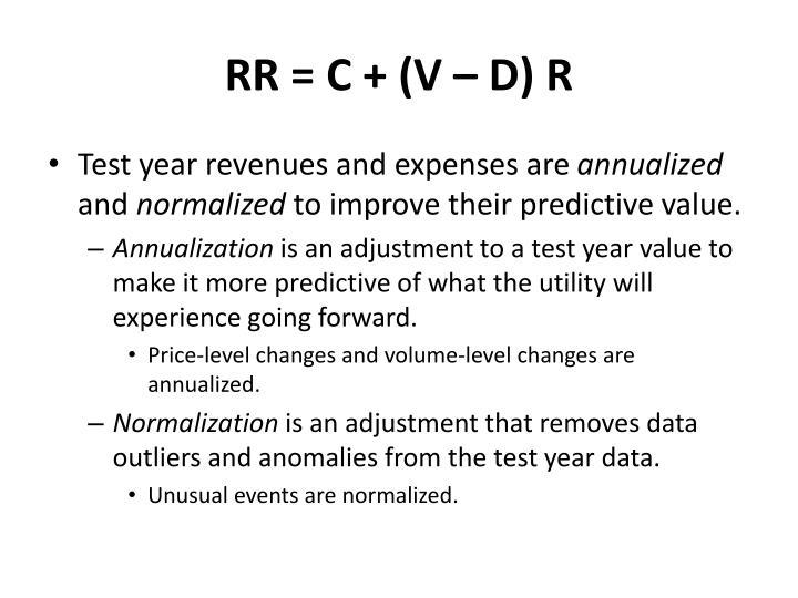RR = C + (V – D) R