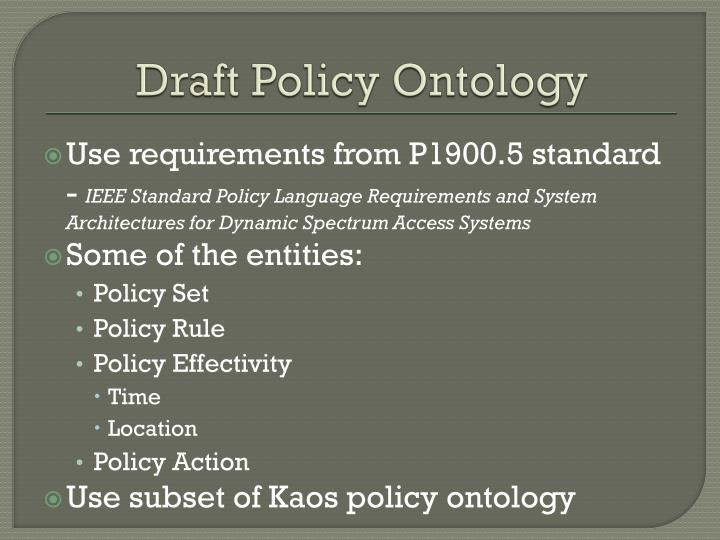 Draft Policy Ontology