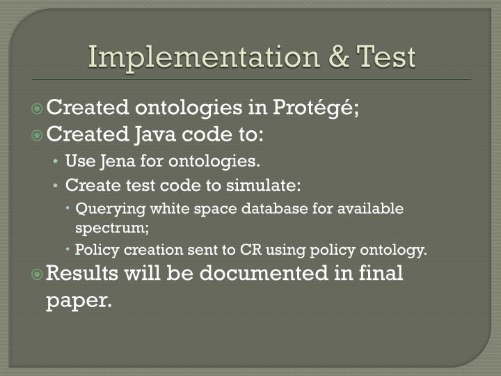 Implementation & Test