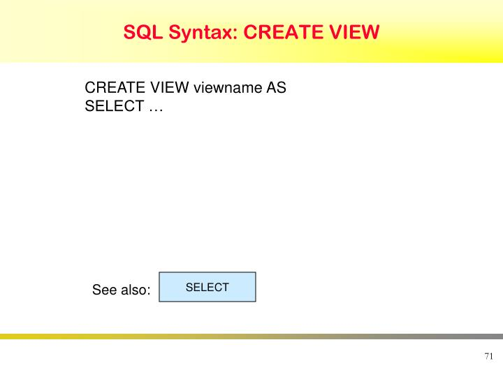 SQL Syntax: CREATE VIEW