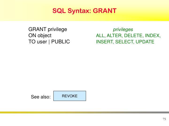 SQL Syntax: GRANT