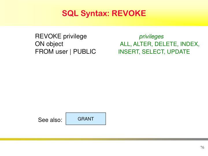 SQL Syntax: REVOKE