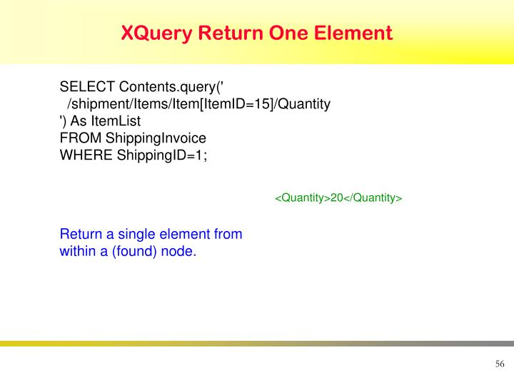 XQuery Return One Element