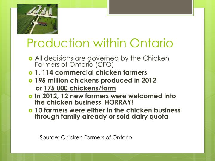 Production within Ontario