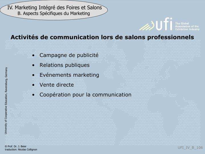 Activités de communication lors de salons professionnels