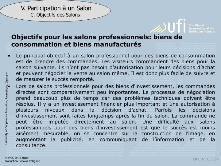 Objectifs pour les salons professionnels: biens de consommation et biens manufacturés