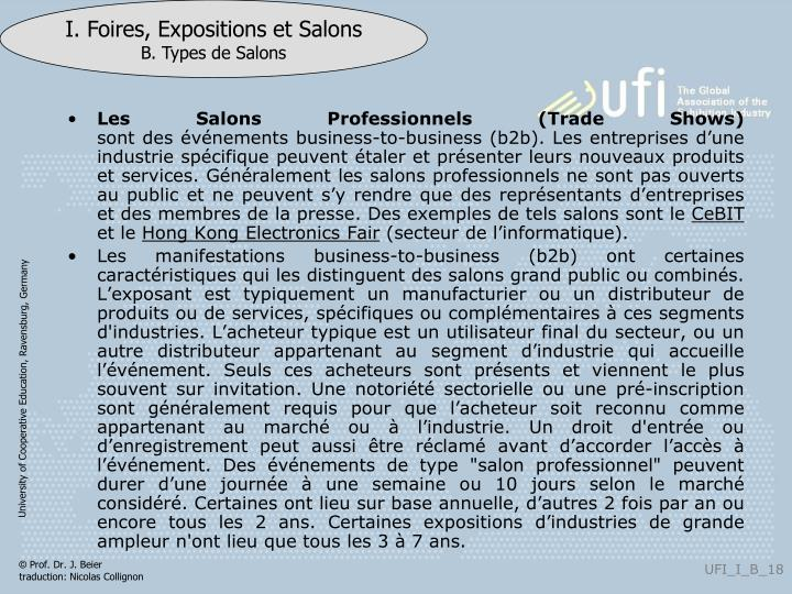 Les Salons Professionnels (Trade Shows)