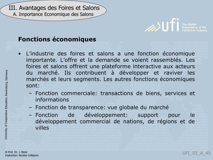 Fonctions économiques