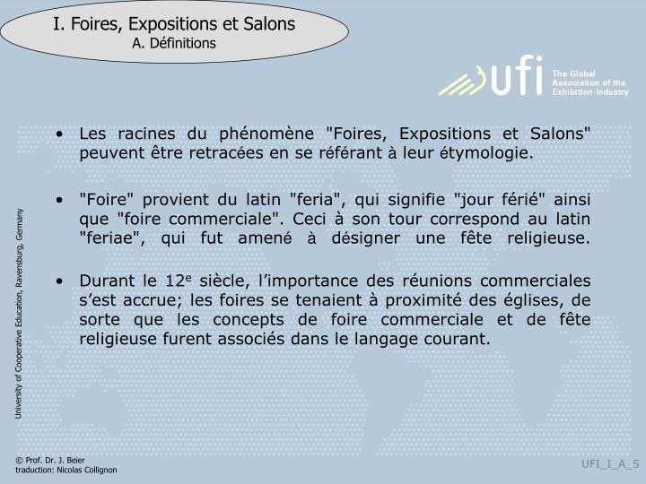 """Les racines du phénomène """"Foires, Expositions et Salons"""" peuvent"""