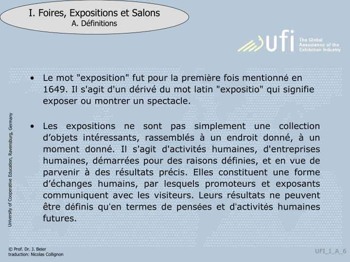 """Le mot """"exposition"""" f"""
