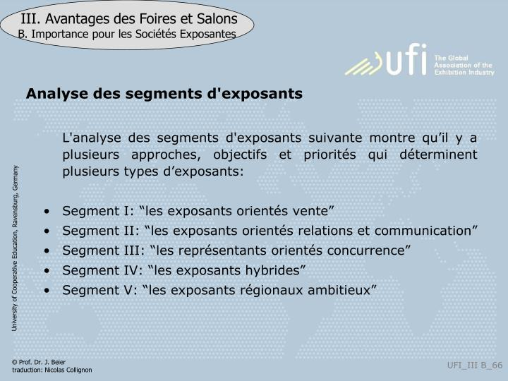 Analyse des segments d'exposants