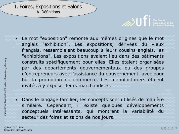 """Le mot """"exposition"""" remonte aux m"""