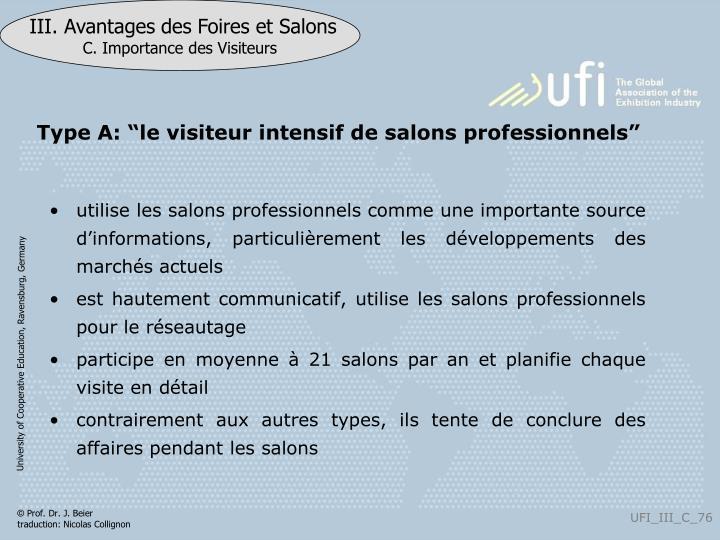 """Type A: """"le visiteur intensif de salons professionnels"""""""