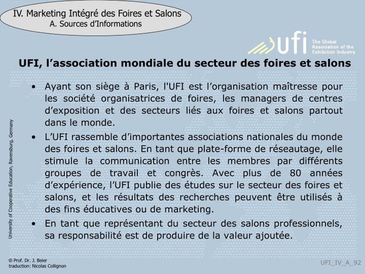 UFI, l'association mondiale du secteur des foires et salons
