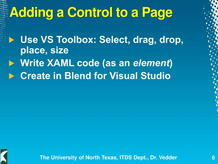 Adding a Control to a Page