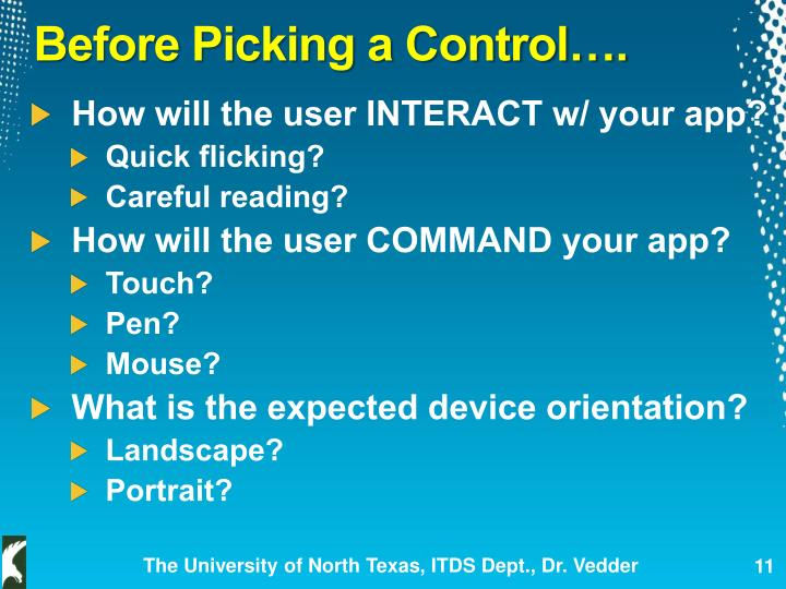 Before Picking a Control….