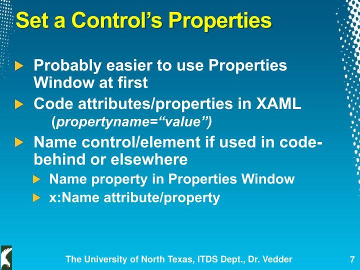 Set a Control's Properties