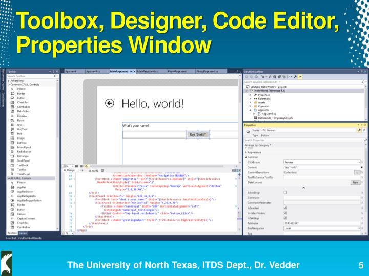 Toolbox, Designer, Code Editor, Properties Window