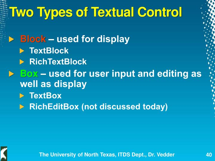 Two Types of Textual Control