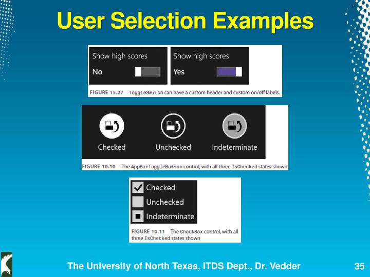 User Selection Examples