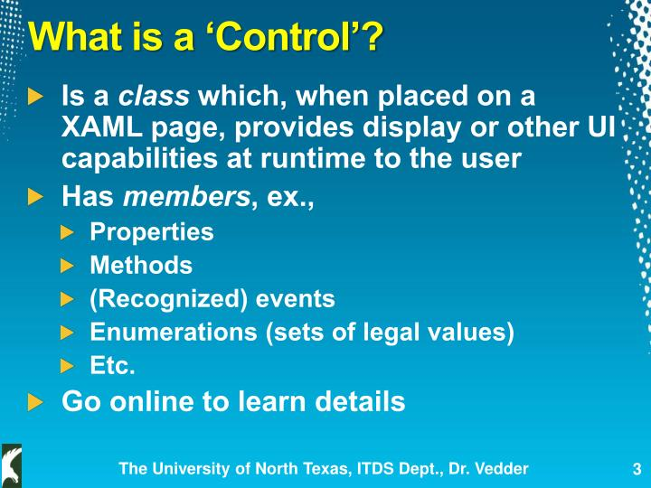 What is a 'Control'?
