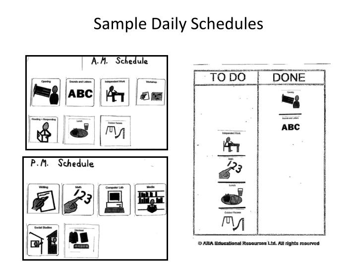 Sample Daily Schedules