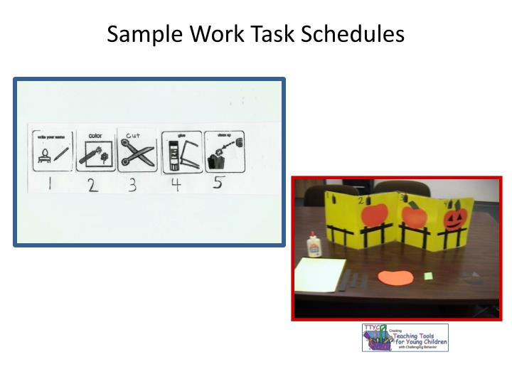 Sample Work Task Schedules