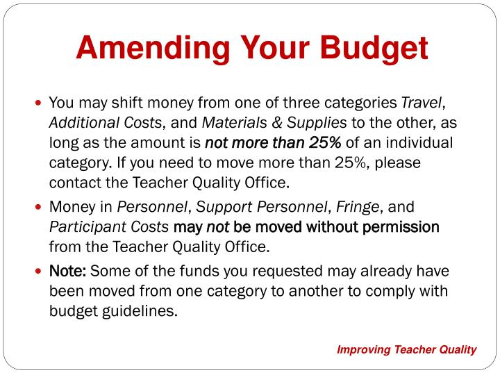 Amending Your Budget
