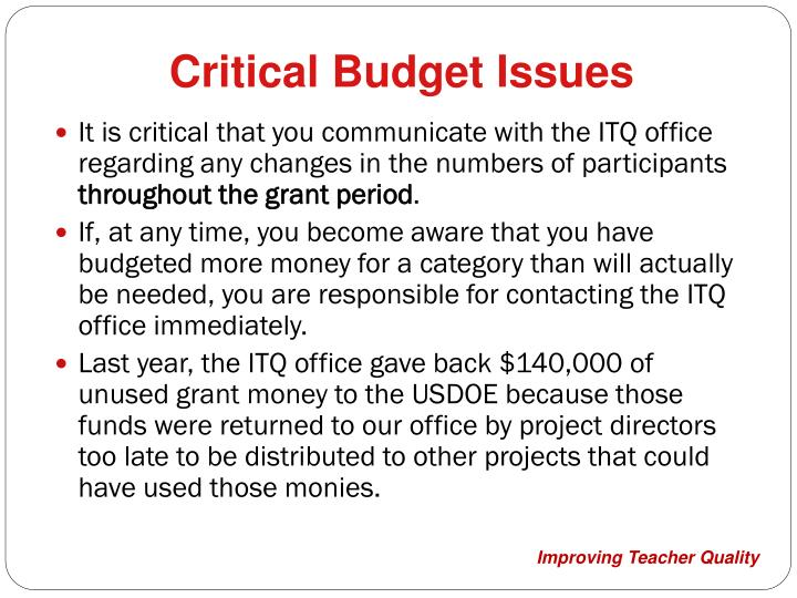Critical Budget Issues