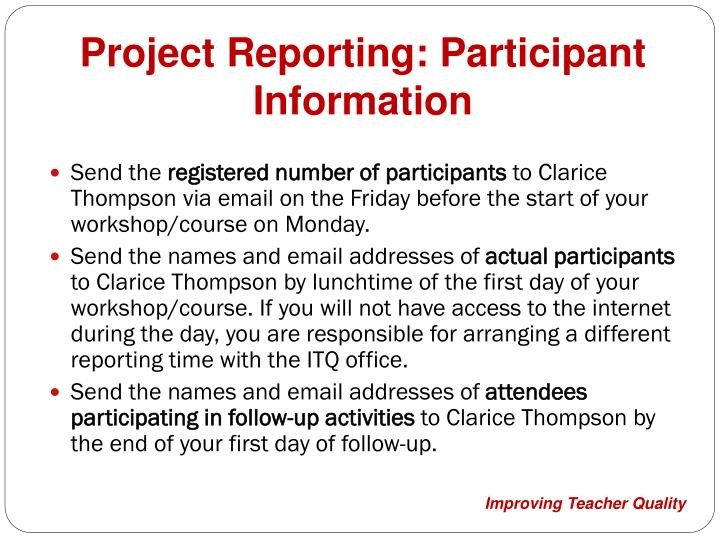 Project Reporting: Participant Information