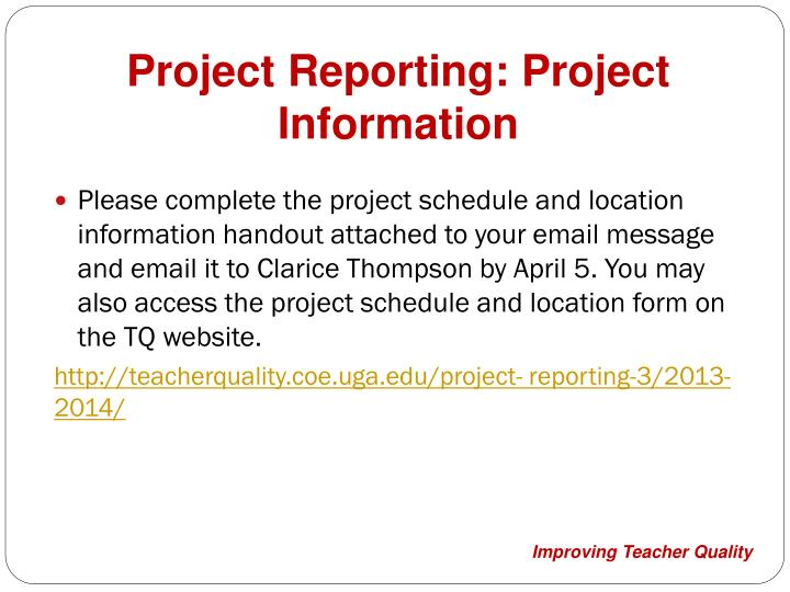 Project Reporting: