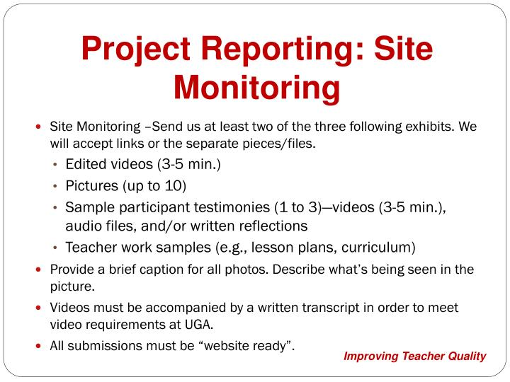 Project Reporting: Site Monitoring