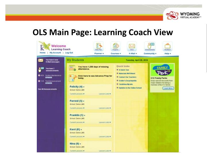 OLS Main Page: Learning Coach View