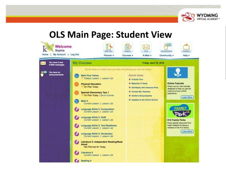 OLS Main Page: Student View