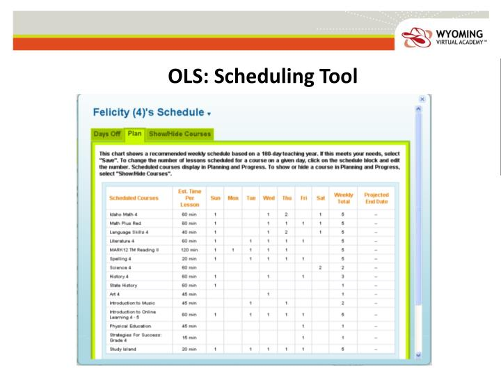 OLS: Scheduling Tool