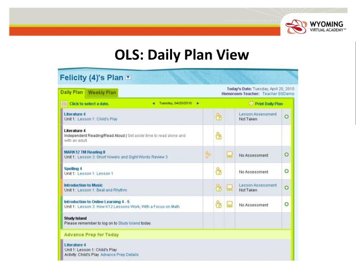 OLS: Daily Plan View