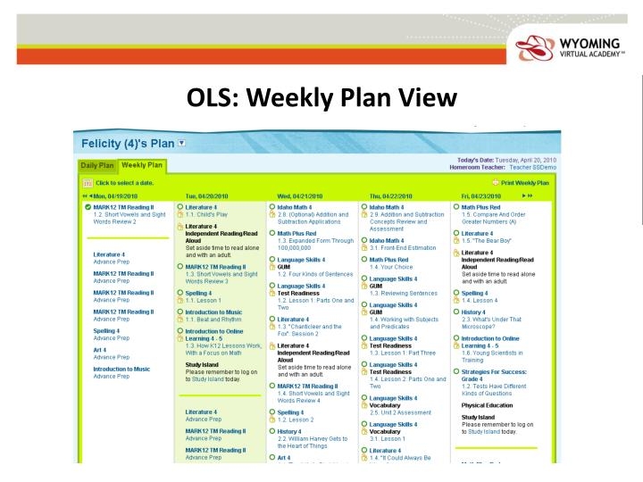 OLS: Weekly Plan View