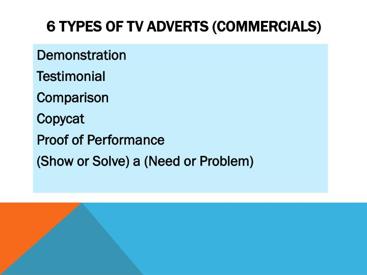 6 types of TV Adverts (commercials)