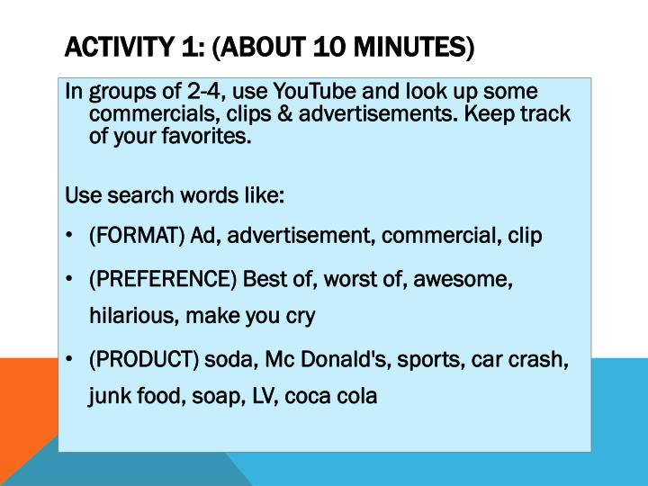 Activity 1: (about 10 minutes)