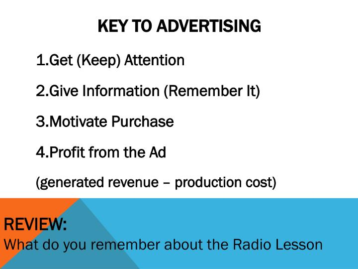 Key to advertising