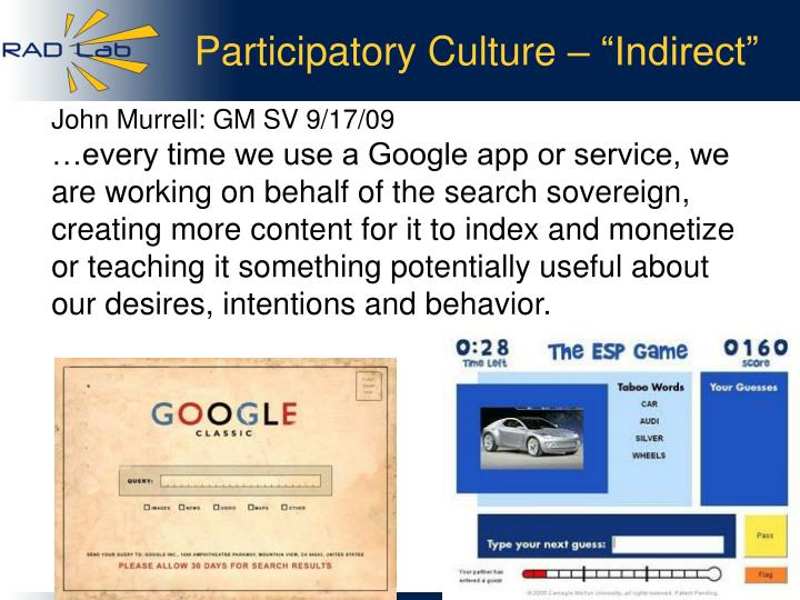 "Participatory Culture – ""Indirect"""