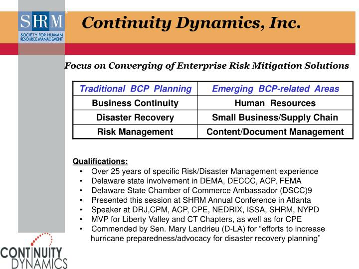Continuity Dynamics, Inc.