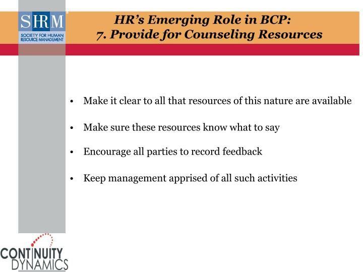 HR's Emerging Role in BCP: