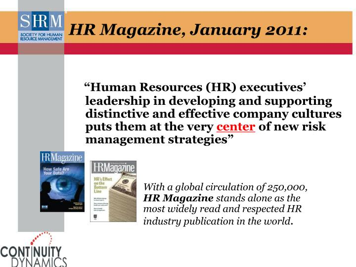 HR Magazine, January 2011: