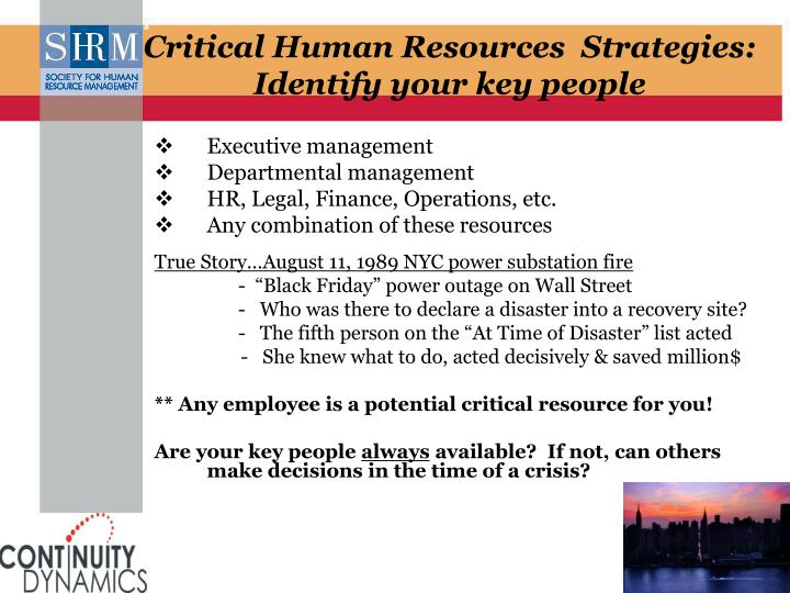 Critical Human Resources  Strategies: